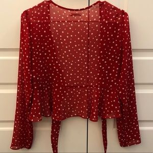 Urban Outfitters Red Polka dot tie front top